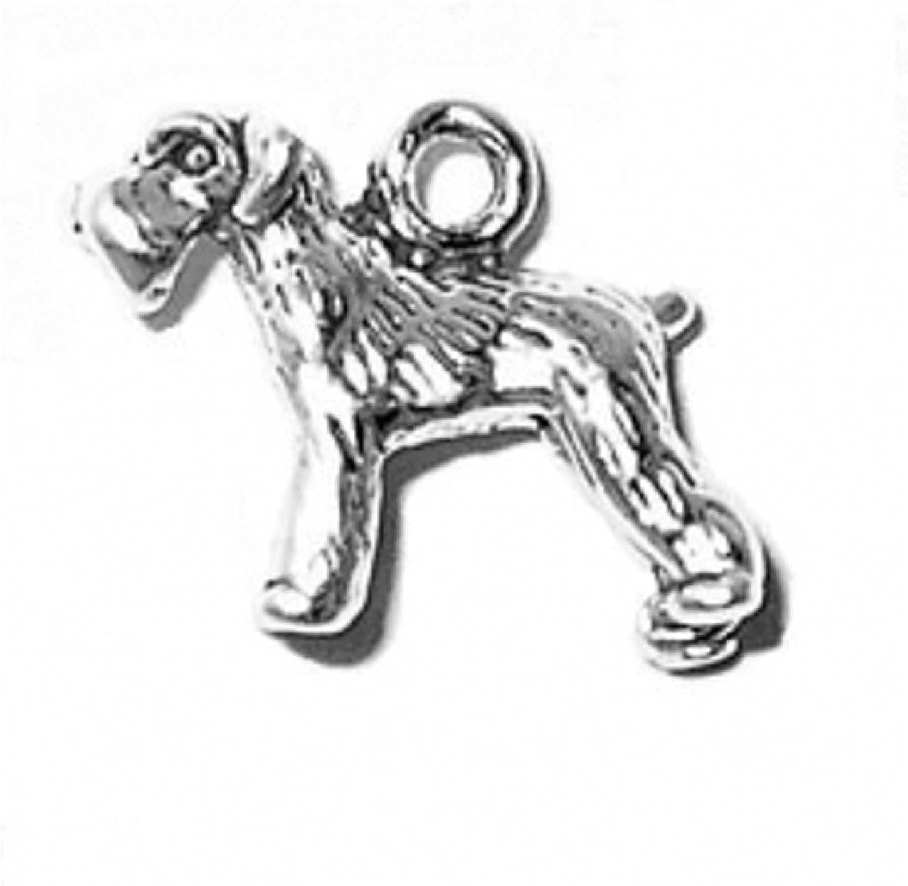 Sterling Silver 3D Small Schnauzer Bobtail Pet Dog Breed Dangle Charm Bead For Bead Bracelet
