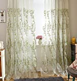 ASide BSide Foliage Ivy Embroidered Lodge Style Rod Pocket Top Permeable Window Decoration Sheer Curtains For Kitchen Houseroom and Sitting Room (1 Panel, W 52 x L 95 inch, Green)