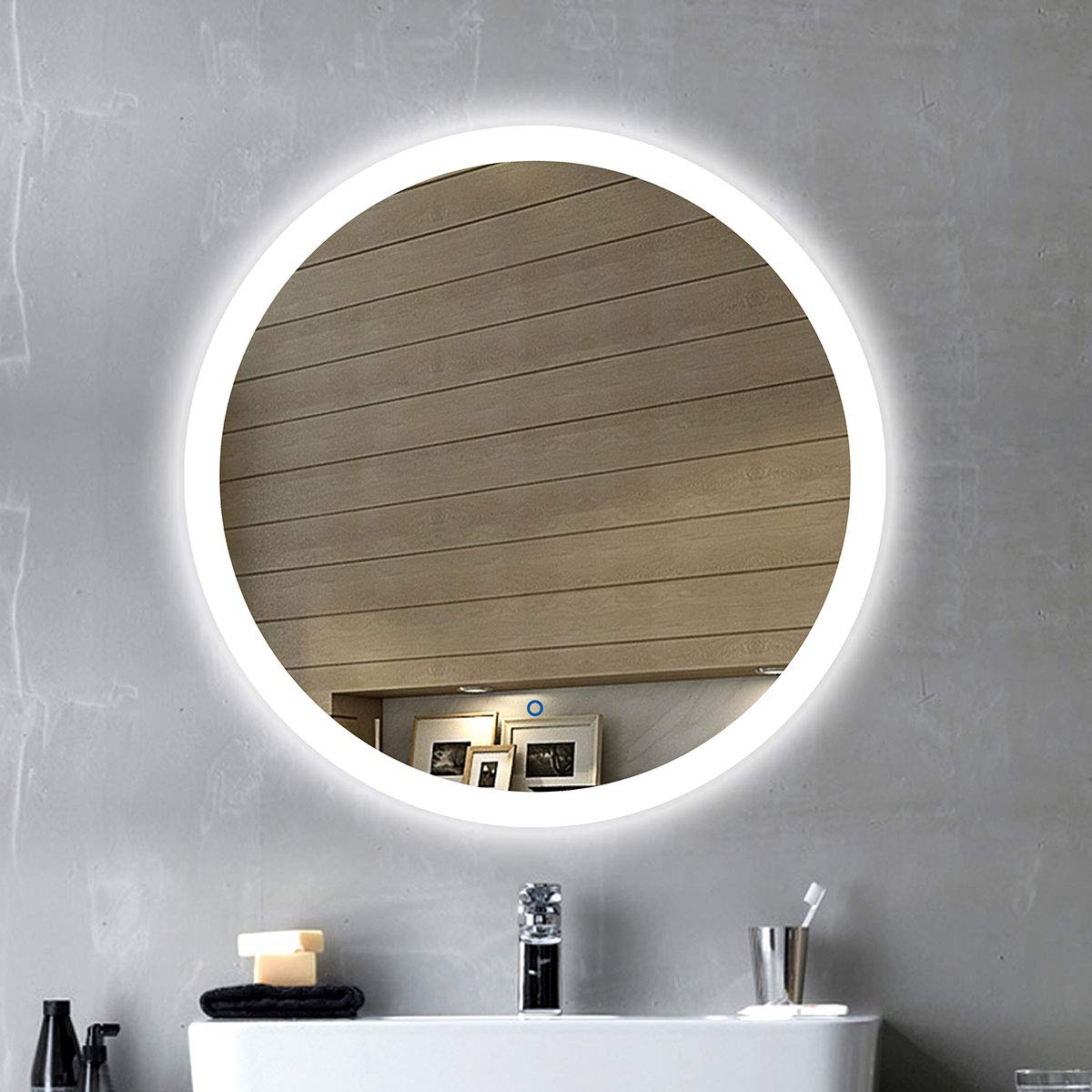 24 Round LED Wall Mounted Lighted Vanity Bathroom Silvered Illuminated Mirror with Touch Button (B-CL065-1) Decoraport