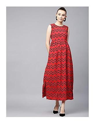 f8fe0f3aa4 Amazon.com: Hiral Designer Mall Maxi Dress Kurtis kurta for women Red  Printed Maxi Dress for Women Long Cotton Kurti: Clothing