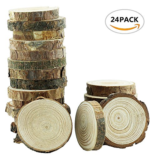 Yexpress 24Pcs 2-2.5-Inch Unfinished Natural Thick Wood Slices Circles with Tree Bark Log Discs for DIY Craft Christmas Rustic Wedding (Log Ornament)