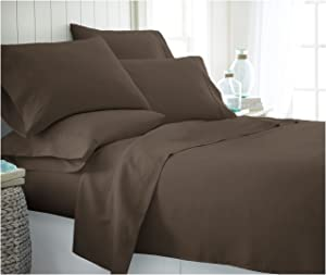 ienjoy Home 6 Piece Home Collection Premium Ultra Soft Bed Sheet Set, Twin, Chocolate
