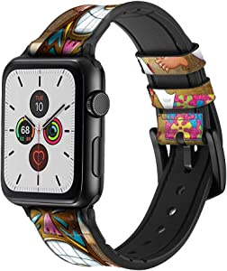 CA0196 Tiki Man Toilet Leather & Silicone Smart Watch Band Strap for Apple Watch iWatch Size 42mm/44mm
