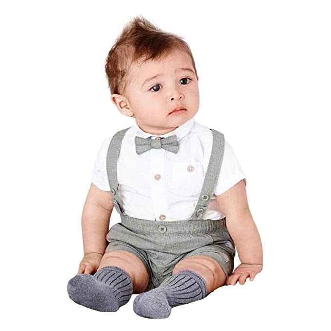 bd9ddea1b Goodlock Toddler Kids Fashion Clothes Set Baby Boys Summer Gentleman Bowtie  Short Sleeve Shirt+Suspenders