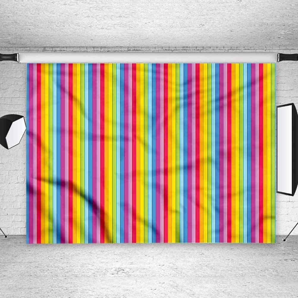 8x8FT Vinyl Photography Backdrop,Colorful,Rainbow Colored Stripes Background Newborn Birthday Party Banner Photo Shoot Booth