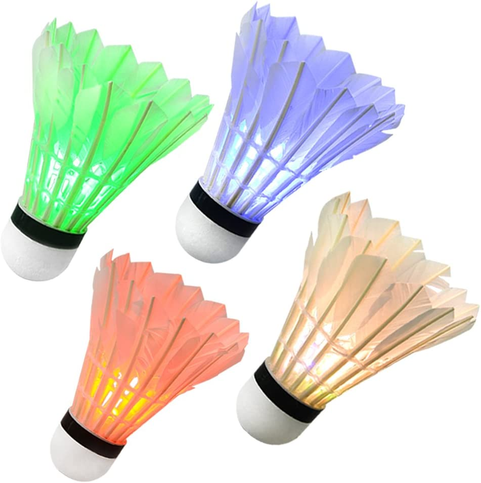 Ohuhu LED Badminton Birdies, Glow in The Dark Night Badminton Shuttlecocks Lighting Birdie for Outdoor Indoor Sports Activities, 4-Pack : Sports & Outdoors