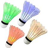 Ohuhu LED Badminton Shuttlecock Dark Night Glow Birdies Lighting For Outdoor & Indoor Sports Activities, 4 Pack/12 Pack