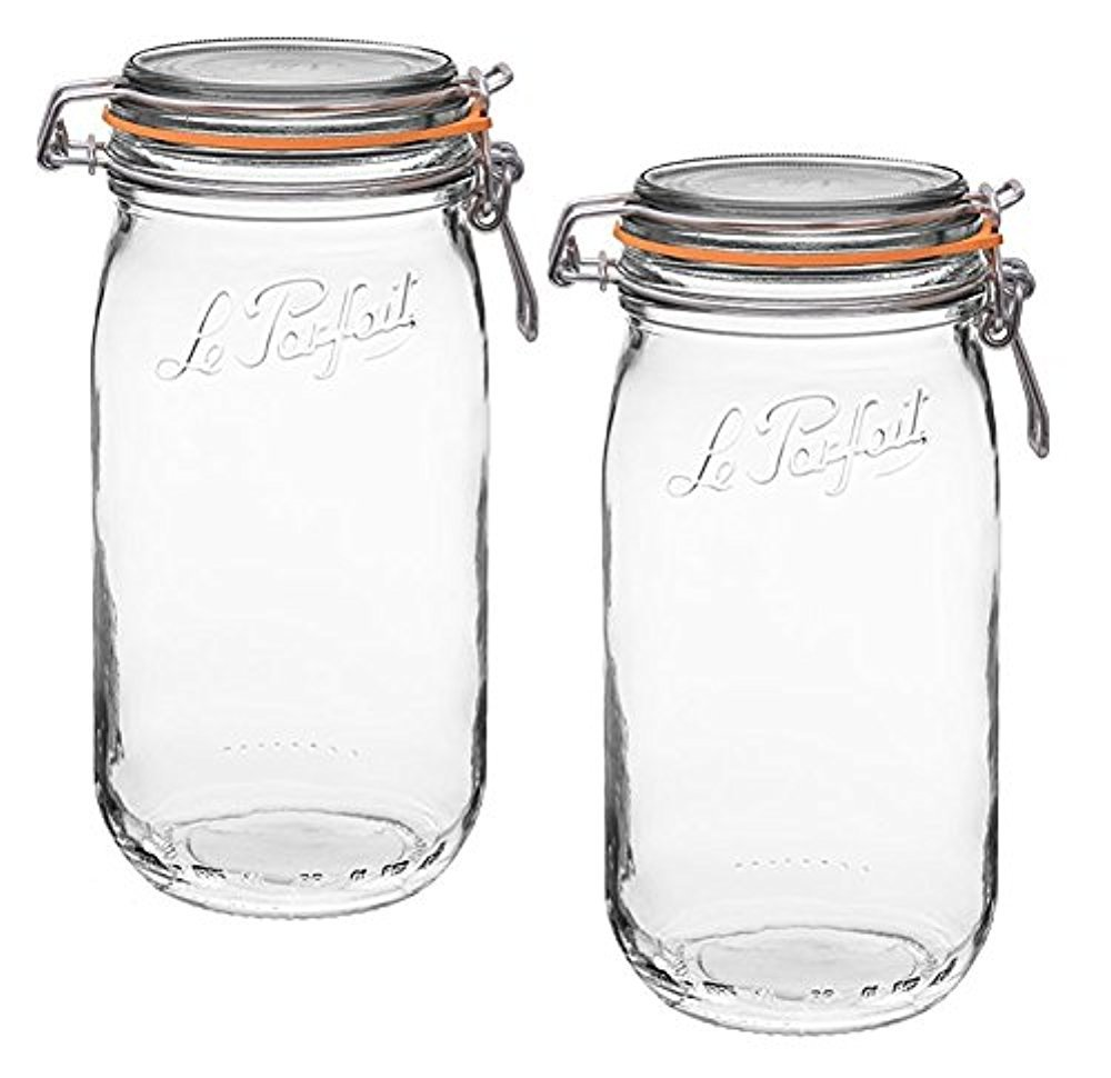 Le Parfait French Glass Super Jar with 85 mm gasket, 1.5 Liter (Pack of 2)