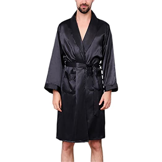 09d51d3e65 BridalAffair Men s Summer Luxurious Kimono Robe Soft Satin Bathrobe Long- Sleeve Nightgown Printed Pajamas at Amazon Men s Clothing store