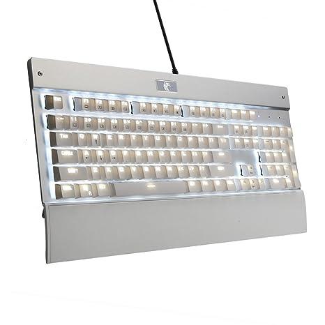 Nuevo Clicky Chroma regulable de retroiluminada LED Tehkeyless Teclado de Juegos Águila Mecánicos 104 Teclas Anti