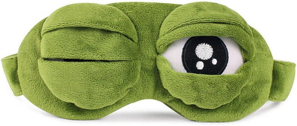 KimBird Unisex 3D Cute Frog Sleep Eye Cover,Green Cartoon Sad Frog Eye Mask Cover Sleeping Rest Travel Anime Funny Gift NO ICE Bag