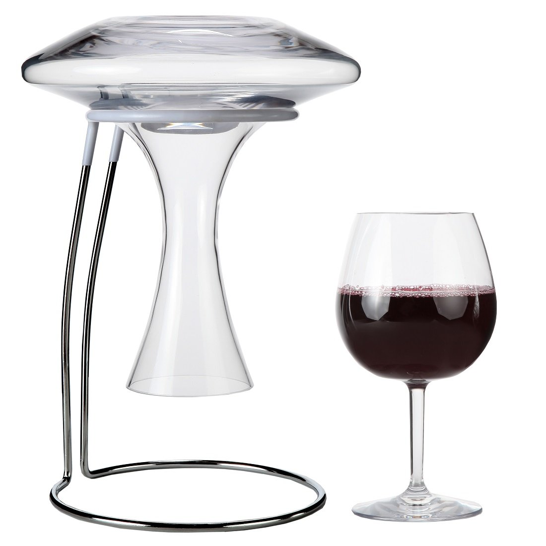 Lily's Home Wine Decanter Drying Stand For Large Bottomed Wine Decanters with Rubber Coated Top to Prevent Scratches and with a Decanter Cleaning Brush