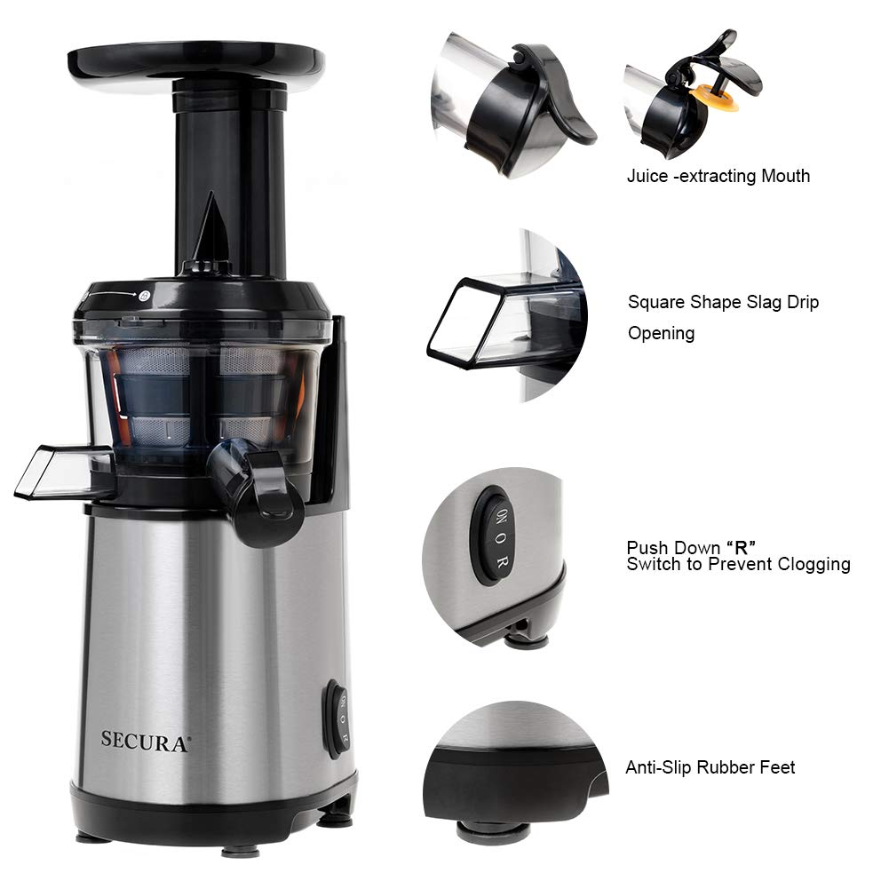 Secura Slow Juicer Masticating Juicer Big Mouth' Cold Press Juicer, Low Speed Juicer for High Nutrient Fruit and Veggies Juice by Secura (Image #4)