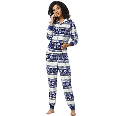 23c19e3acd Usstore Hot Womens Snowflake Print Hoodie Pajamas Spring Winter Oversize  Loose Zipper Comfort Home Jumpsuit (
