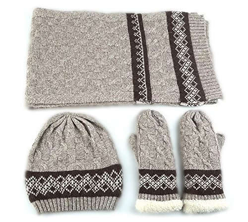Canon Log Cabin (Three Piece Set) Men Woolen Hat Scarf Glove Winter Knitted Fashion Gifts (Rice-Christmas Specialist) Christmas Mens Fashion
