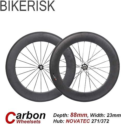 BIKERISK 3k de Carbono 700C Bici del Camino del remachador de 88mm de Profundidad tubulares Ejes montados Rim 271 / 372SB Hub Ultraligero Ciclismo Piezas Ruedas de Bicicleta,Tubular: Amazon.es: Deportes y aire