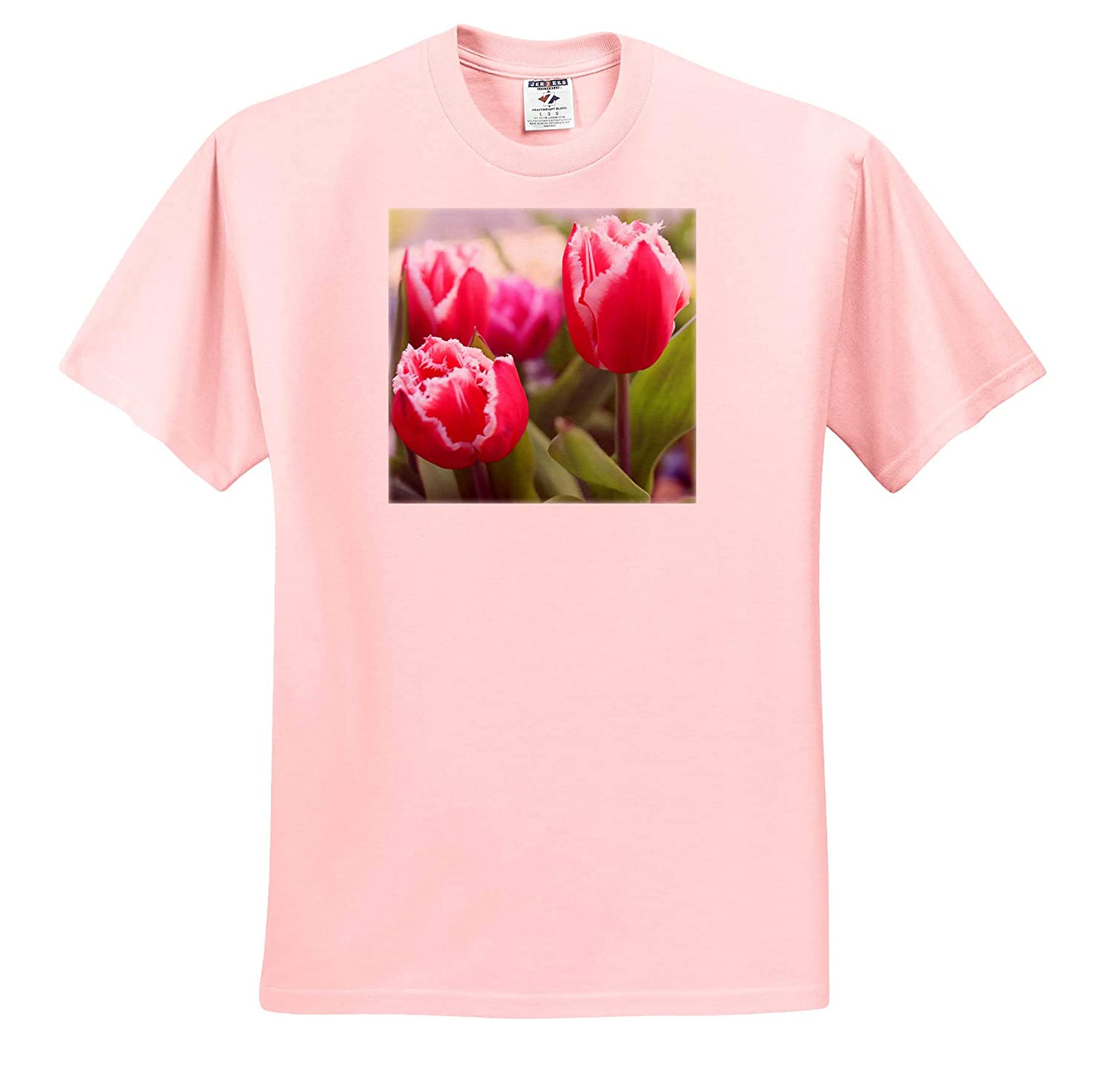 - T-Shirts Flowers 3dRose Stamp City Pink Tulips with Jagged Edges That Adorn one of Our Flower Gardens