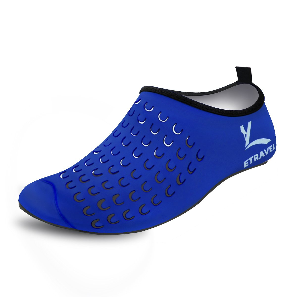 Cevinee Slip-on Water Shoes, Anti-slip Athletic Aqua Socks, for Outdoor Pool Beach Swim Exercise Workout - Blue Dot XXXL