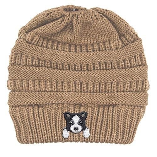 - Lhotse Border Collie/Embroidered Puppy Dog Series Beanie - Stretch Fleece Cable Knit High Bun Ponytail Skullies Hat Cap - Beige