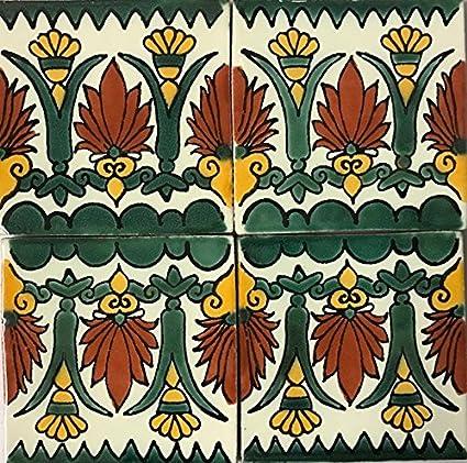 Amazon.com: 6 x 6 grande, colorida, Talavera azulejos ...