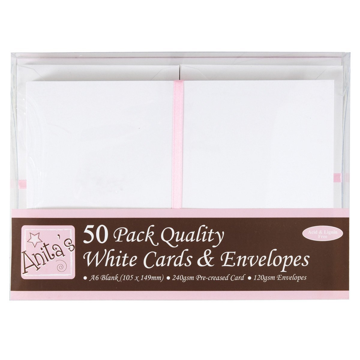 Anita's A6 Card and Envelope, Pack of 50, White Docrafts A1511020