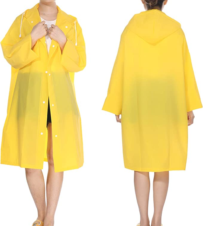 YESURPRISE Waterproof Raincoat for Men & Women, Clear Reusable Rain Coat Rainwear Emergency Poncho with Hood and Sleeves for Unisex Adults