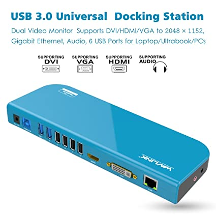 Wavlink Universal Docking Station Usb 30 Dock With Dual Video Display Outputs Hdmidvivga Up To 2048 X 1152 Gigabit Ethernet 6 Usb Ports Audio