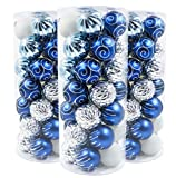 Valery Madelyn 35ct 70mm Winter Wishes Blue Silver Shatterproof Christmas Ball Ornaments Decoration with String Pre-Tied,Themed with Tree Skirt(Not Included)