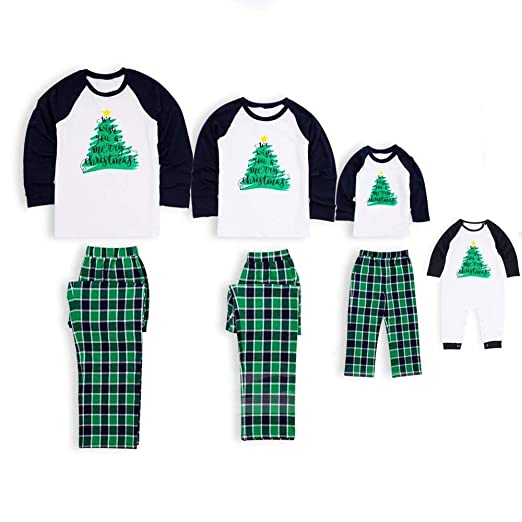 6cd86c00a3 Amazon.com  Matching Pajamas Holiday Christmas Tree Printed Sleepwear with  Plaid Pants Set for Adult Kids  Clothing