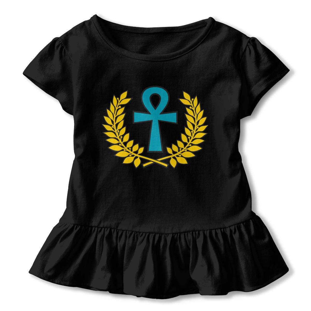 CZnuen Ancient Egyptian Ankh Golden 2-6T Baby Girls Cotton Jersey Short Sleeve Ruffle Tee
