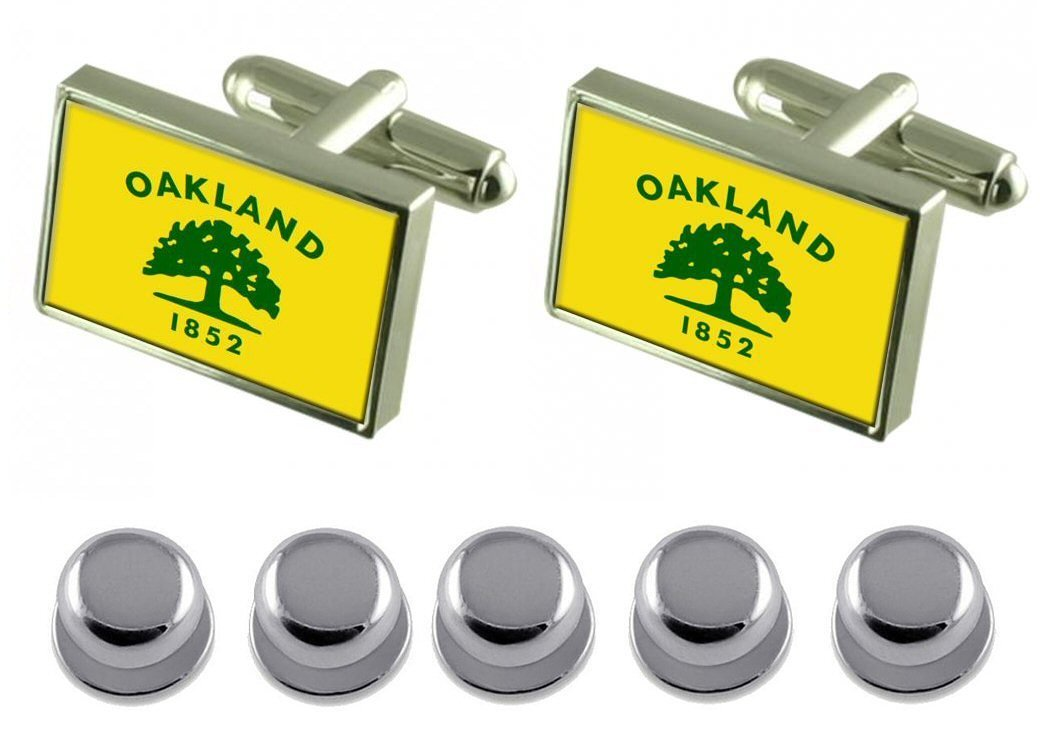 Shirt Dress Studs Oakland City USA Flag Cufflinks