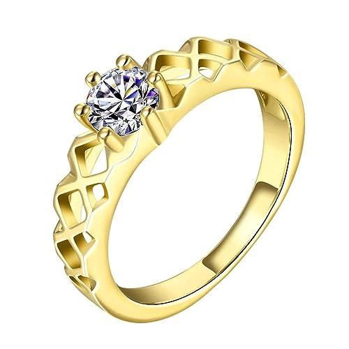 Aeici Schmuck Ringe für Damen Weiß Gold Blumen hohle Krone Zirkonia ...