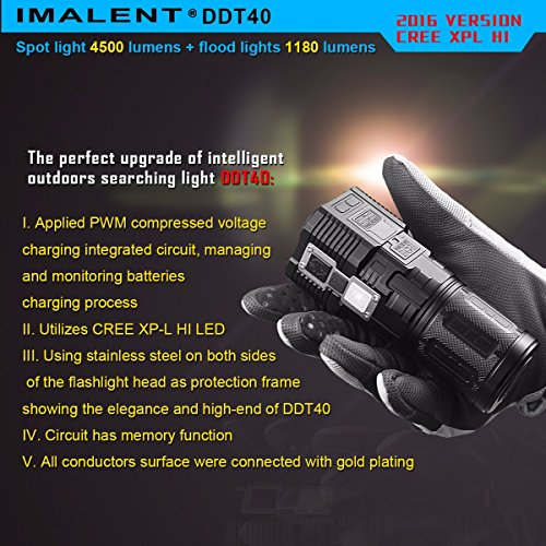 IMALENT DDT40 4500 Lumens +1180 Lumens Handheld LED Flashlight Powered Tactical Flashlight for Camping Hiking (The item can be delivered within 10 days) by IMALENT (Image #8)