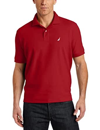 Nautica Men's Short Sleeve Solid Deck Polo Shirt, Nautica Red, Large