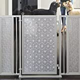Fusion Gates Baby & Dog Gate featuring Linear Lace in White Art Screen Design (Black, 36'' - 52'')