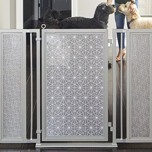 Fusion Gates Baby & Dog Gate featuring Linear Lace in White Art Screen Design (Black, 36'' - 52'') by Fusion Gates (Image #5)