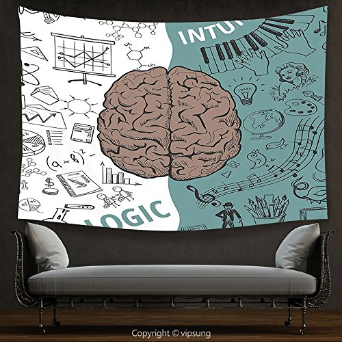 House Decor Tapestry Modern Decor Brain Image With Left And Right Side Music Logic Art Side Science Print White Teal Umber Wall Hanging For Bedroom Living Room Dorm