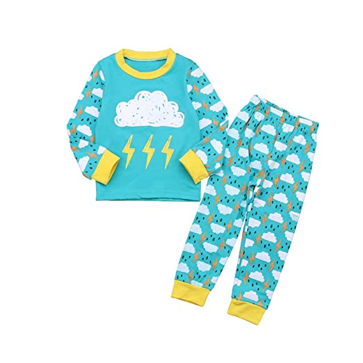 7878a897f4 HBER 1-6T Toddler Baby Little Boys Girls Kids Pajamas Sets Long Sleeve T-