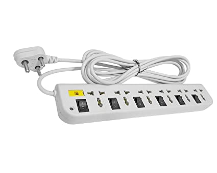 Fedus Extension Switch Board with 6 Sockets 6 Switches 4mtr Long Wire 6 Socket Surge Protector  6+6   White
