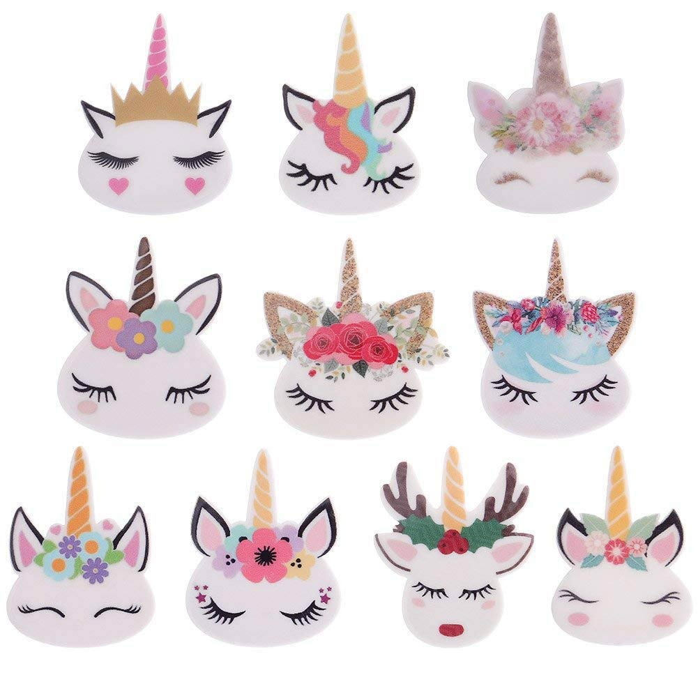 50 Pieces Mix Unicorn Slime Charms Beads Resin Flatbacks of Slime Beads Supplies for Ornament Scrapbook DIY Crafts Feihoudei