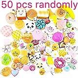 Toys : 50 Pcs Kawaii Squishies Slow Rising Jumbo/Medium/Mini Random Cake Bread Panda Bun with Phone Straps Kids Pretend Play ibloom squishy