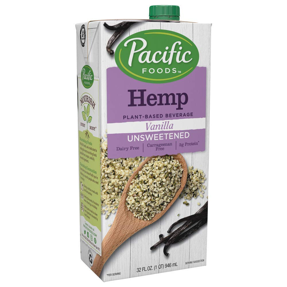Pacific Foods All Natural Unsweetened Hemp Vanilla, 32-Ounce Boxes (Pack of 12) Keto Friendly (6604 9)