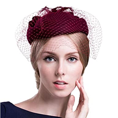 Fascinator Wedding Pillbox Hats Wool Bowknot Church Hat with Veil ... 3c532ab8bc7