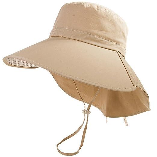 Womens Summer Flap Cover Cap Cotton Anti-UV UPF 50+ Sun Shade Hat Folding 7e164a03bea