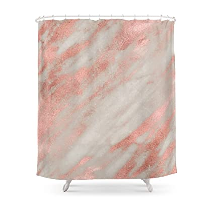 Society6 Smooth Rose Gold On Gray Marble Shower Curtain 71quot