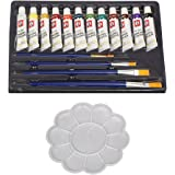 Kurtzy 12 Colors Watercolor Paint Set (12ml) Professional Artist Grade Pigment Rich Water Color With 4 Brushes Art Painting Kit With Painting Palette