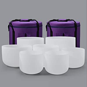 432HZ 7-12 Inch Set Of 7 Pcs Frosted Quartz Crystal Singing Bowls With 2 Pcs Carrying Case bag Sound Healing