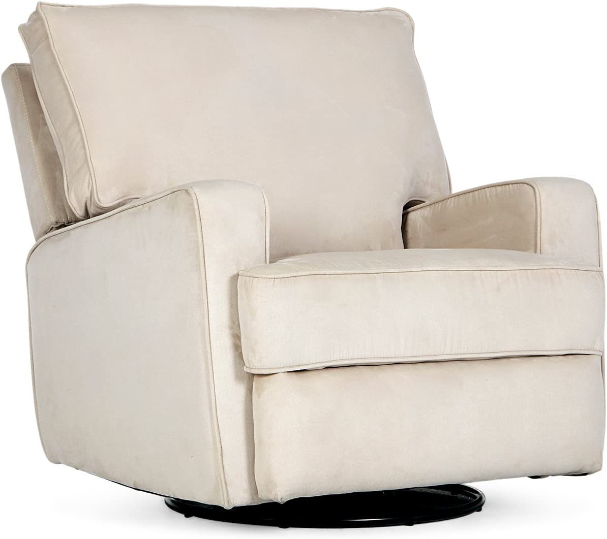 BELLEZE Recliner Swivel Chair Armrest Padded Backrest Living Room Rocker Reclining Chairs Comfort Footrest Linen, Beige