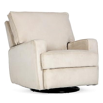 Belleze Recliner Swivel Chair Armrest Padded Backrest Living Room Rocker Reclining  Chairs Comfort Footrest Linen,