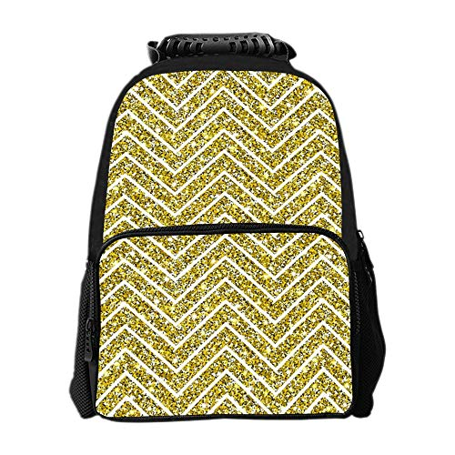 SARA NELL Gold Glitter Chevron Background Kids School Bag Backpacks Travel Book-bags]()